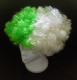 Green and White Afro Wig.